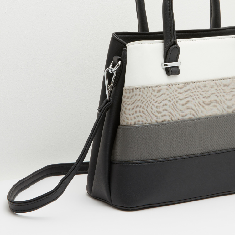 Textured Handbag with Detachable Sling Strap