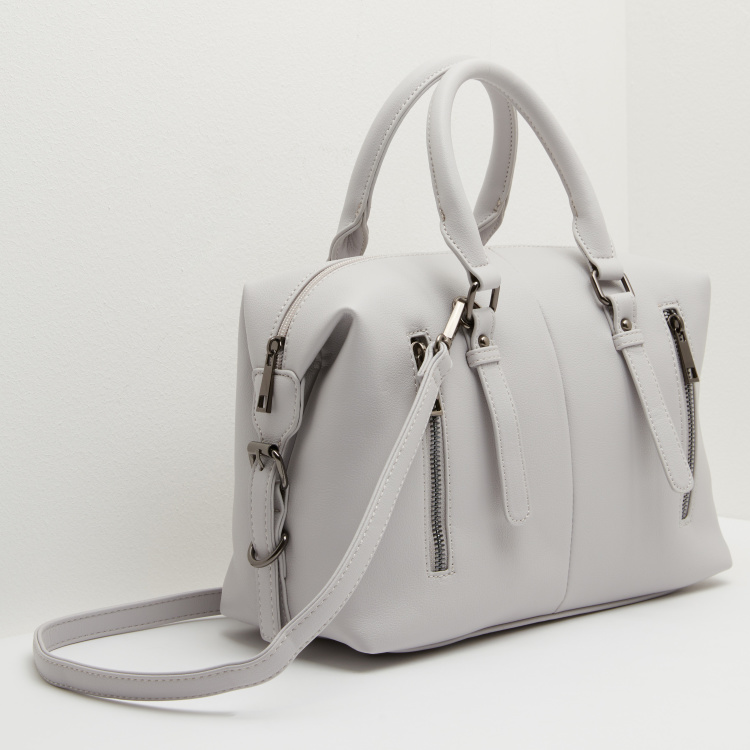 Plain Bowler Bag with Zip Detail and Shoulder Strap