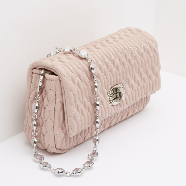 Quilted Handbag with Twist Lock Closure