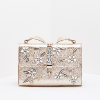 Embellished Shoulder Bag with Twist Lock Closure