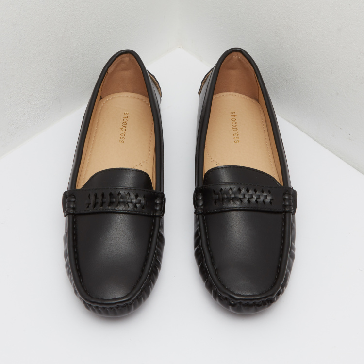 Slip-On Moccasins with Cutwork Design