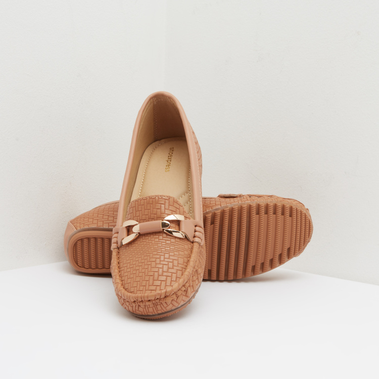 Weave Textured Wedge Moccasins with Metal Accent