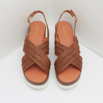 Wedges with Criss Cross Strap and Buckle Closure