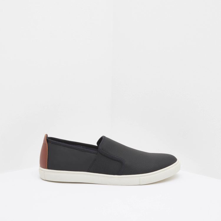 Textured Panelled Slip-On Sneakers