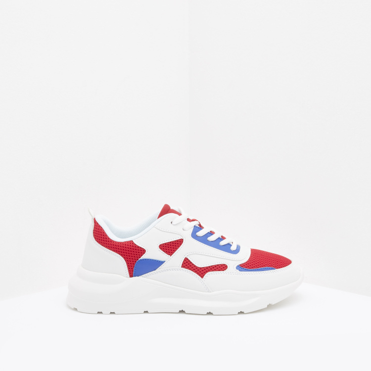Panelled Colourblock Lace-Up Sneakers